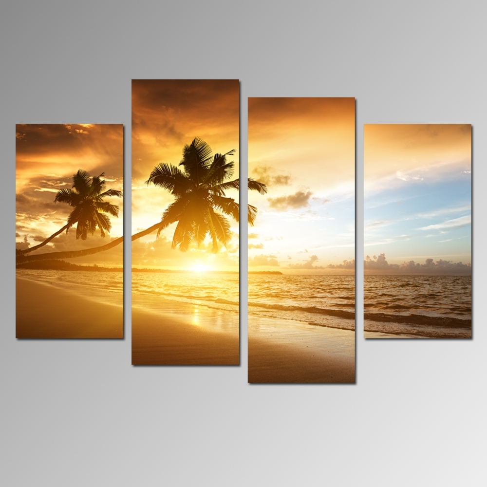 4 Panels Sunset Scenery Painting Artwork,office Decoration For Best And Newest Beach Canvas Wall Art (Gallery 14 of 15)