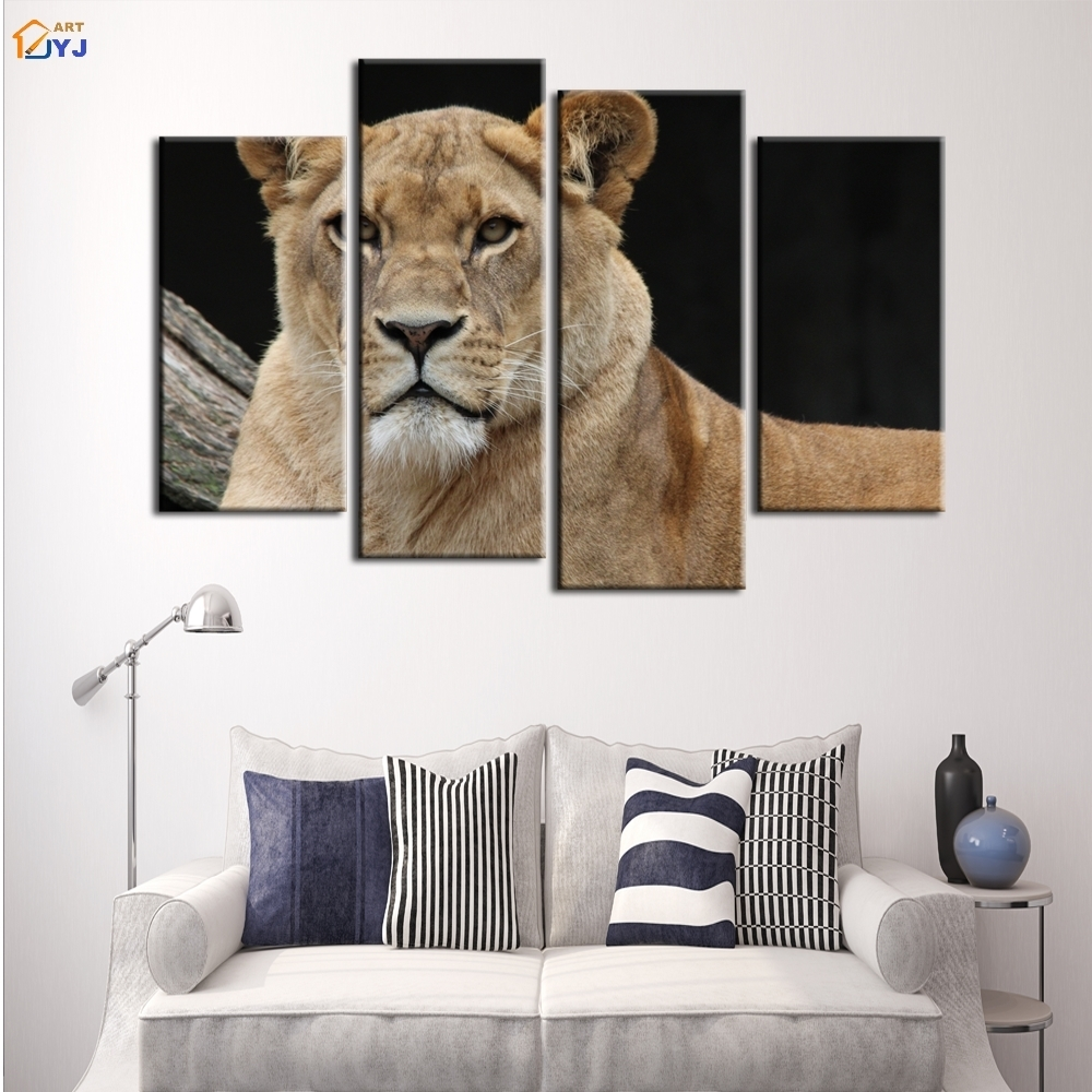 4 Pcs Home Decor Lion King Oil Painting On Canvas Wall Art Gift Hd Intended For Latest Lion King Canvas Wall Art (View 6 of 15)