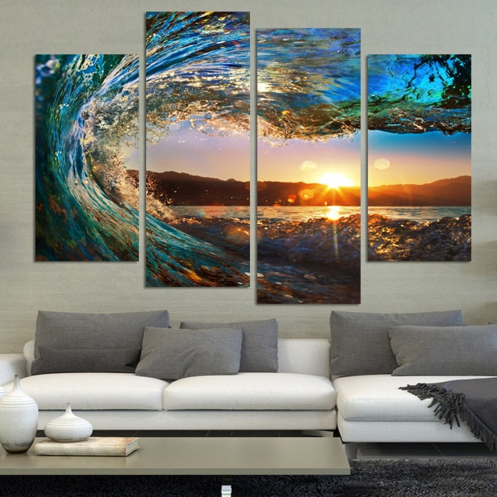 4 Pcs Modern Seascape Painting Canvas Art Hd Sea Wave Landscape In Newest Landscape Canvas Wall Art (Gallery 10 of 15)