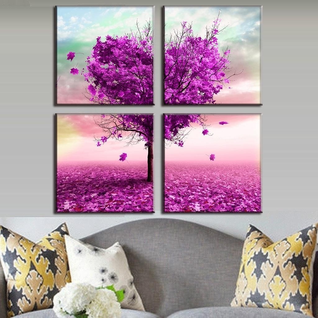 4 Pcs/set Artist Canvas Prints Heart Shaped Purple Maple Wall Inside Most Popular Hearts Canvas Wall Art (View 2 of 15)