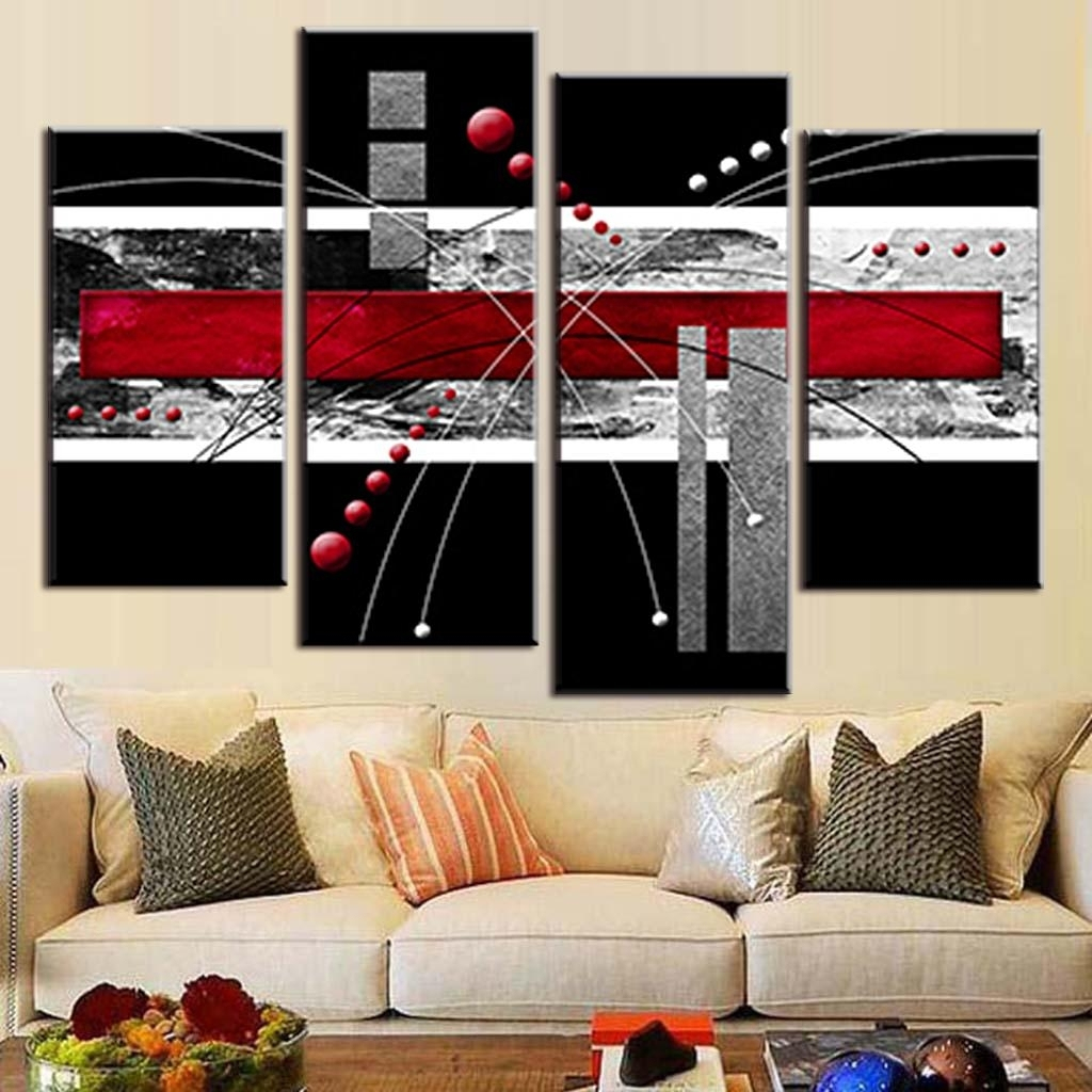 4 Pcs/set Canvas Wall Art Picture Red Black Grey Combined Canvas Regarding Most Recently Released Red Canvas Wall Art (Gallery 8 of 15)