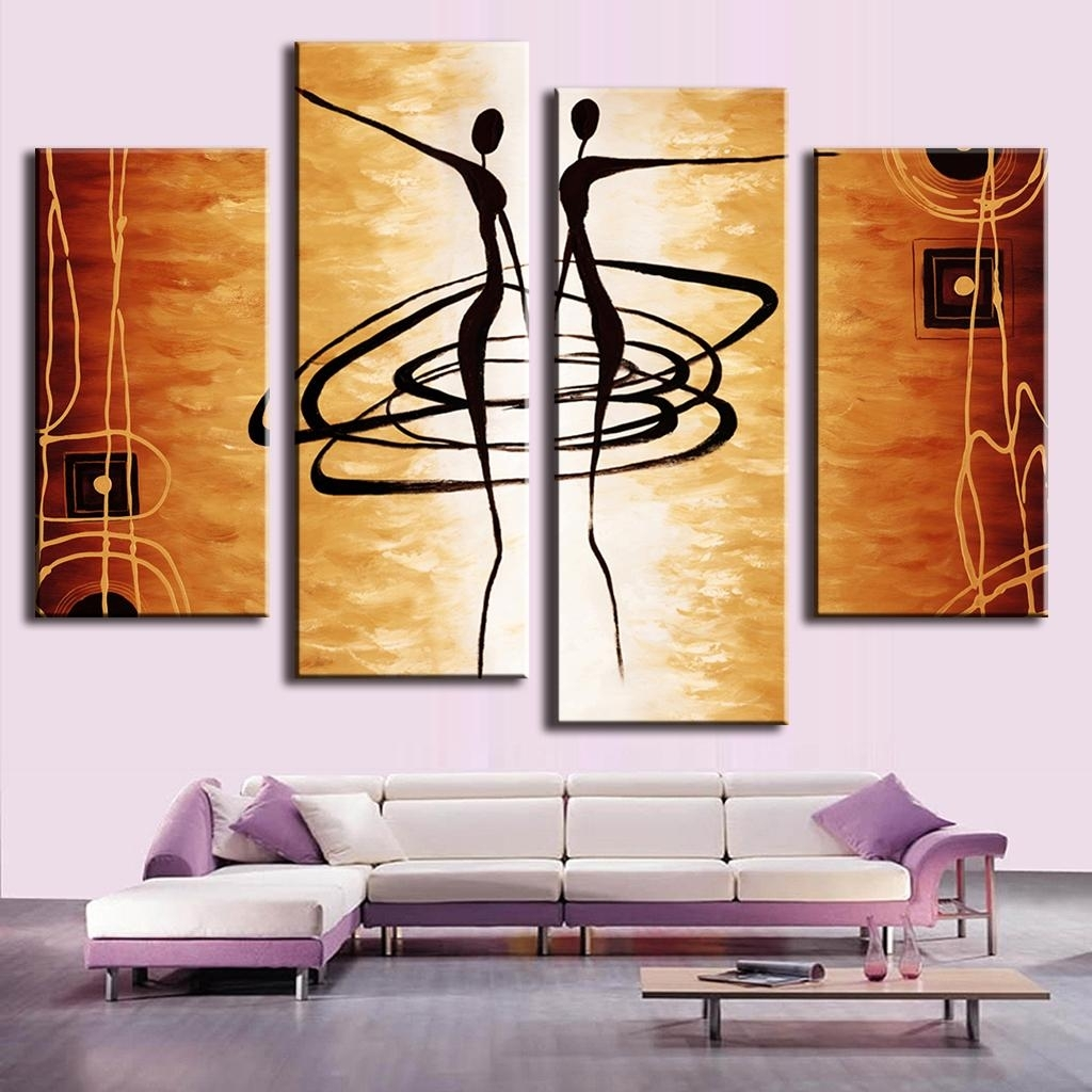 4 Pcs/set Combined Abstract Canvas Art Dancers Canvas Wall Picture Throughout 2017 Dance Canvas Wall Art (Gallery 6 of 15)