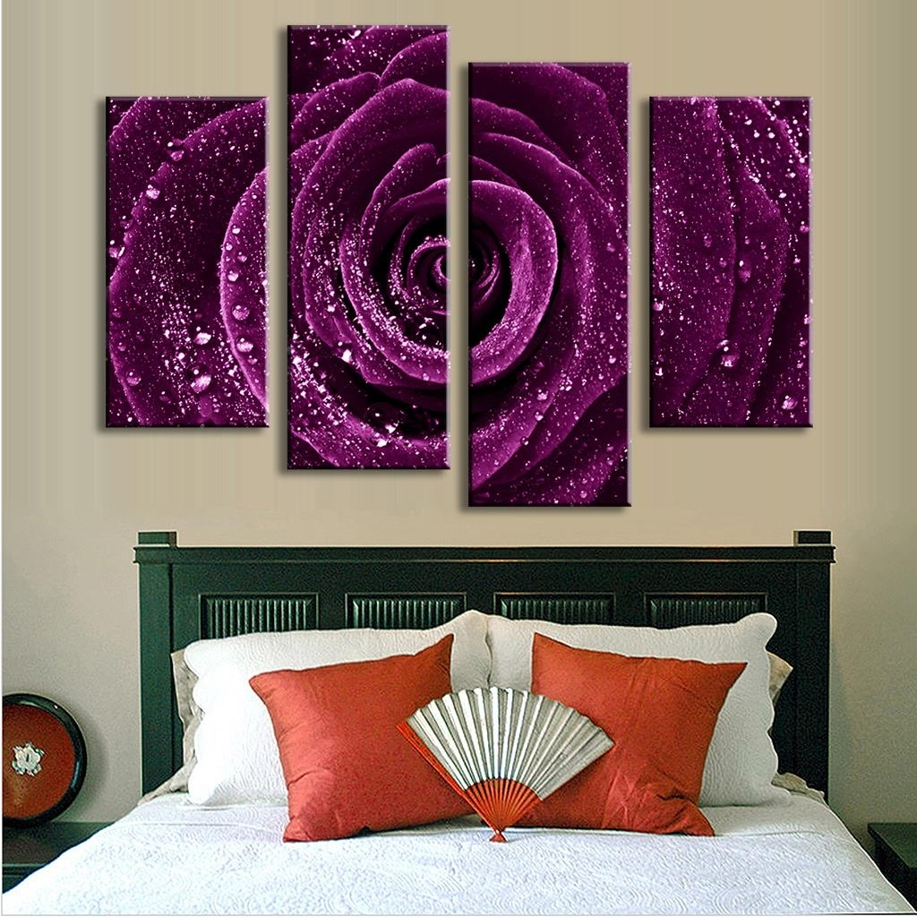 4 Pcs/set Combined Flower Paintings Purple Rose Modern Wall Pertaining To 2018 Purple Flowers Canvas Wall Art (Gallery 4 of 15)