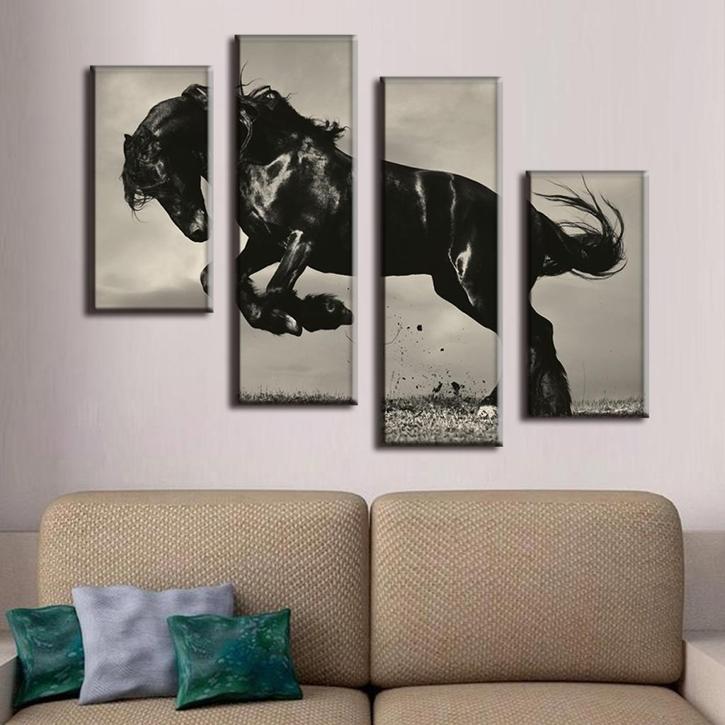 4 Pcs/set Large Canvas Paintings Jumping Black Horse Canvas Print Intended For 2018 Jump Canvas Wall Art (Gallery 10 of 15)