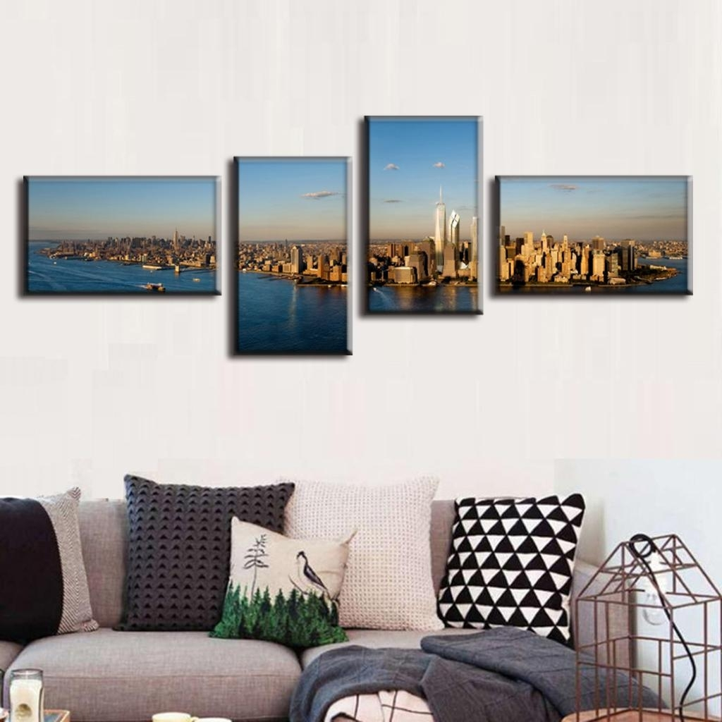 4 Pcs/set Modern Canvas Painting Landscape Canvas Prints Panorama Throughout Current Panoramic Canvas Wall Art (Gallery 6 of 15)