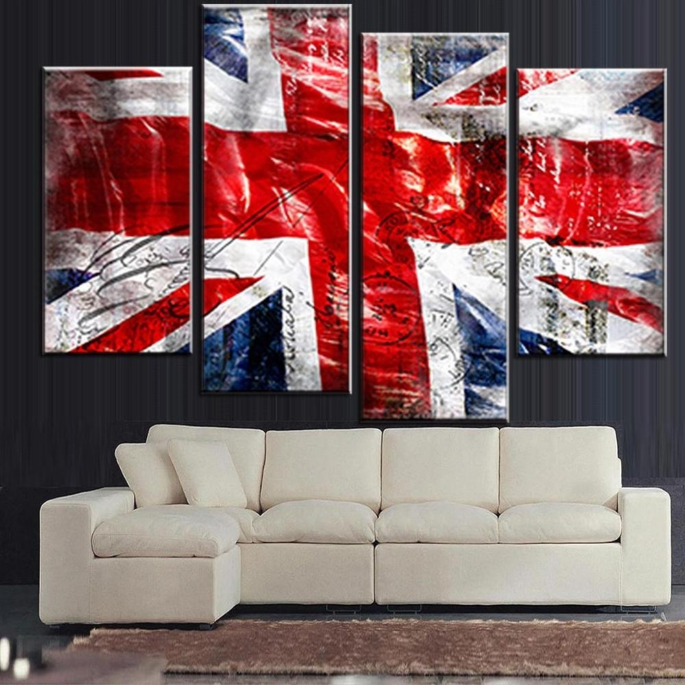 4 Pcs/set Still Live British Flag Wall Art Picture Modern Combined Pertaining To Most Recently Released Union Jack Canvas Wall Art (Gallery 3 of 15)