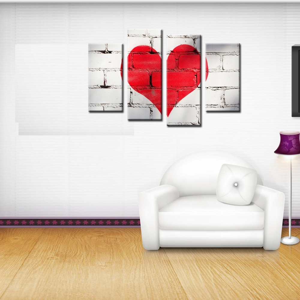 4 Piece Canvas Art Modern Paintingnumbers Red Love Heart In Recent Hearts Canvas Wall Art (Gallery 7 of 15)