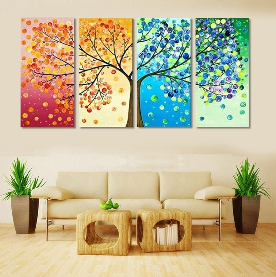 4 Piece Colourful Leaf Trees Canvas – Home Wall Deco | Sunset Pertaining To Most Popular Leaves Canvas Wall Art (View 4 of 15)