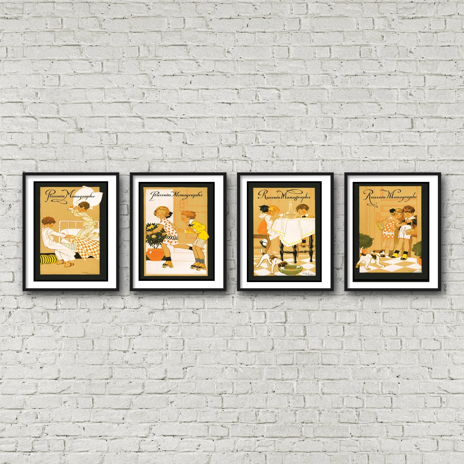 4 Piece Wall Art – Children's Art Deco Nursery Art  Free Shipping In Most Up To Date Framed Art Deco Prints (Gallery 13 of 15)