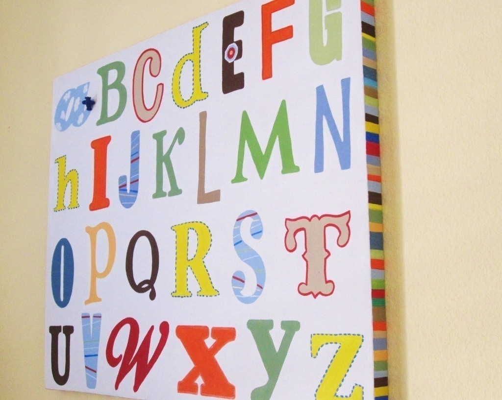 40 Extraordinary Ideas Alphabet Wall Art | Panfan Site In Most Recently Released Letters Canvas Wall Art (View 3 of 15)
