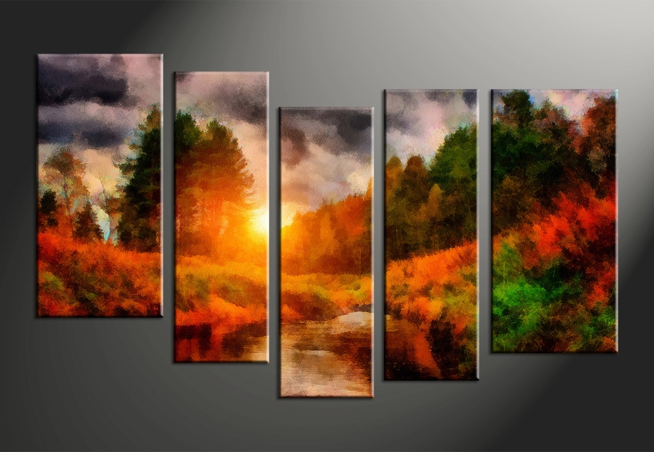 40 Homey Inspiration Multi Panel Canvas Wall Art | Panfan Site Pertaining To Best And Newest Orange Canvas Wall Art (View 13 of 15)