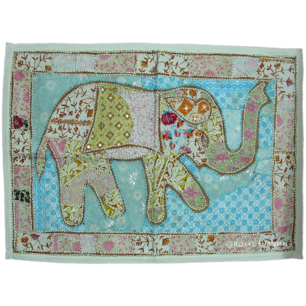 """45"""" White Indian Handmade Elephant Patchwork Wall Hanging Tapestry Inside Recent Indian Fabric Art Wall Hangings (View 1 of 15)"""