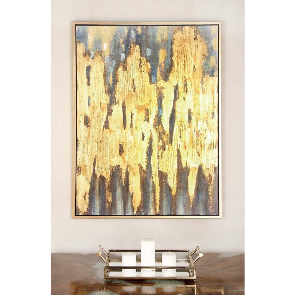 "47 In. X 36 In. ""gold And Blue Color Field"" Canvas Wall Art 47455 Pertaining To Recent Gold Canvas Wall Art (Gallery 3 of 15)"