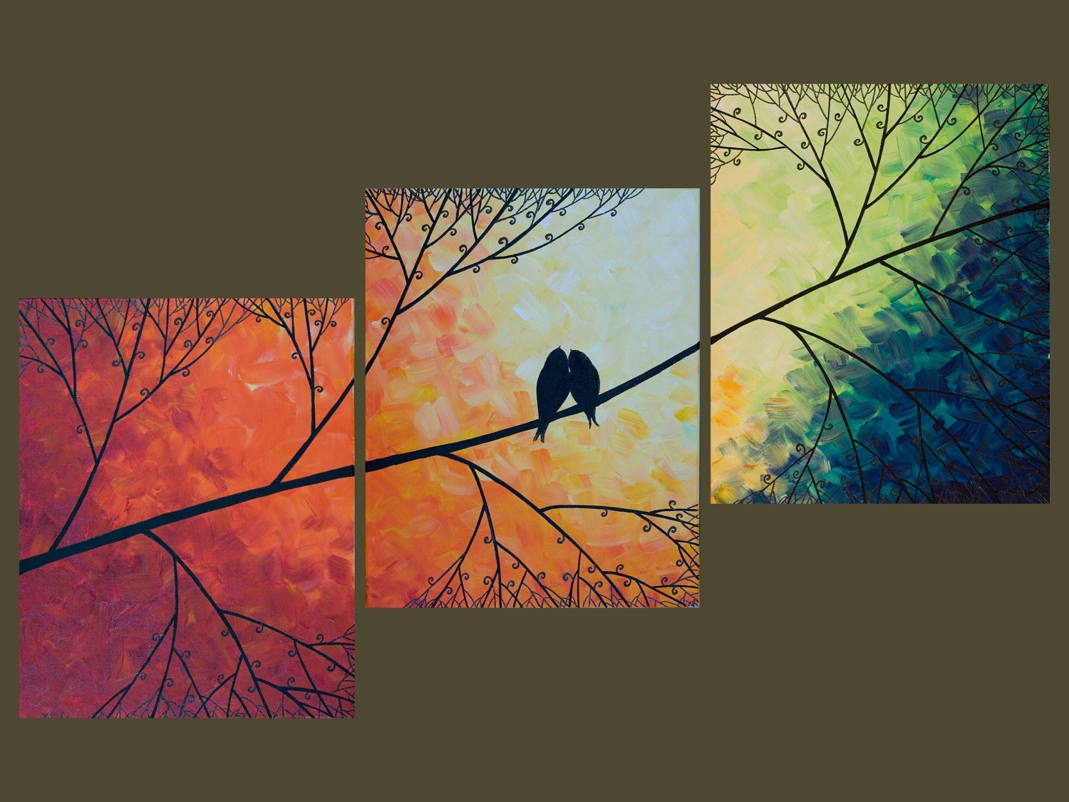 "48"" Large Birds Art Rainbow Color Art Acrylic Landscape Painting With Best And Newest Rainbow Canvas Wall Art (Gallery 9 of 15)"