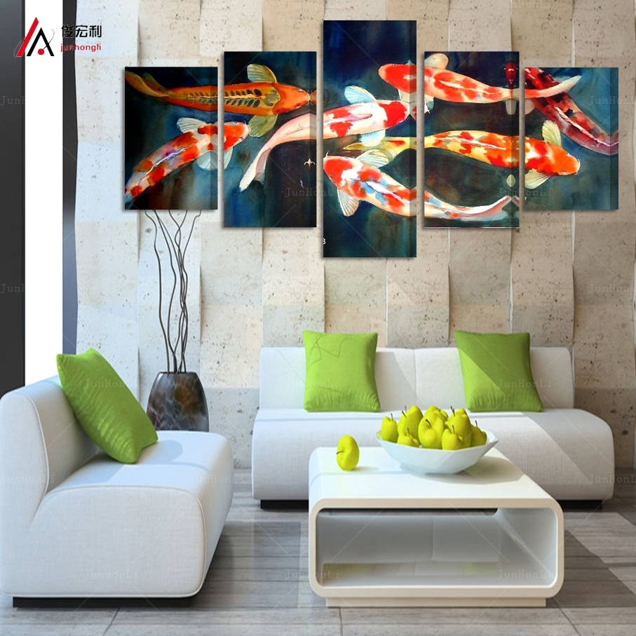 5 Panel Canvas Prints Koi Fish Art Chinese Painting Printed Home Intended For Recent Koi Canvas Wall Art (View 3 of 15)