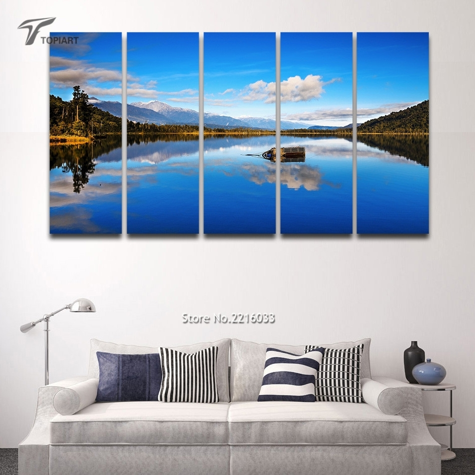 5 Panel Canvas Wall Art Blue Lake View New Zealand Scenery Large with Newest New Zealand Canvas Wall Art