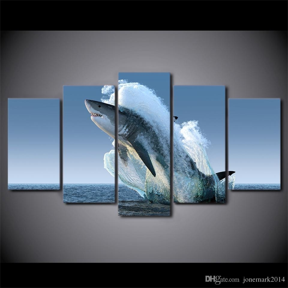 5 Panel Framed Hd Printed Jumping White Shark Seascape Canvas Wall Inside Most Popular Jump Canvas Wall Art (View 6 of 15)