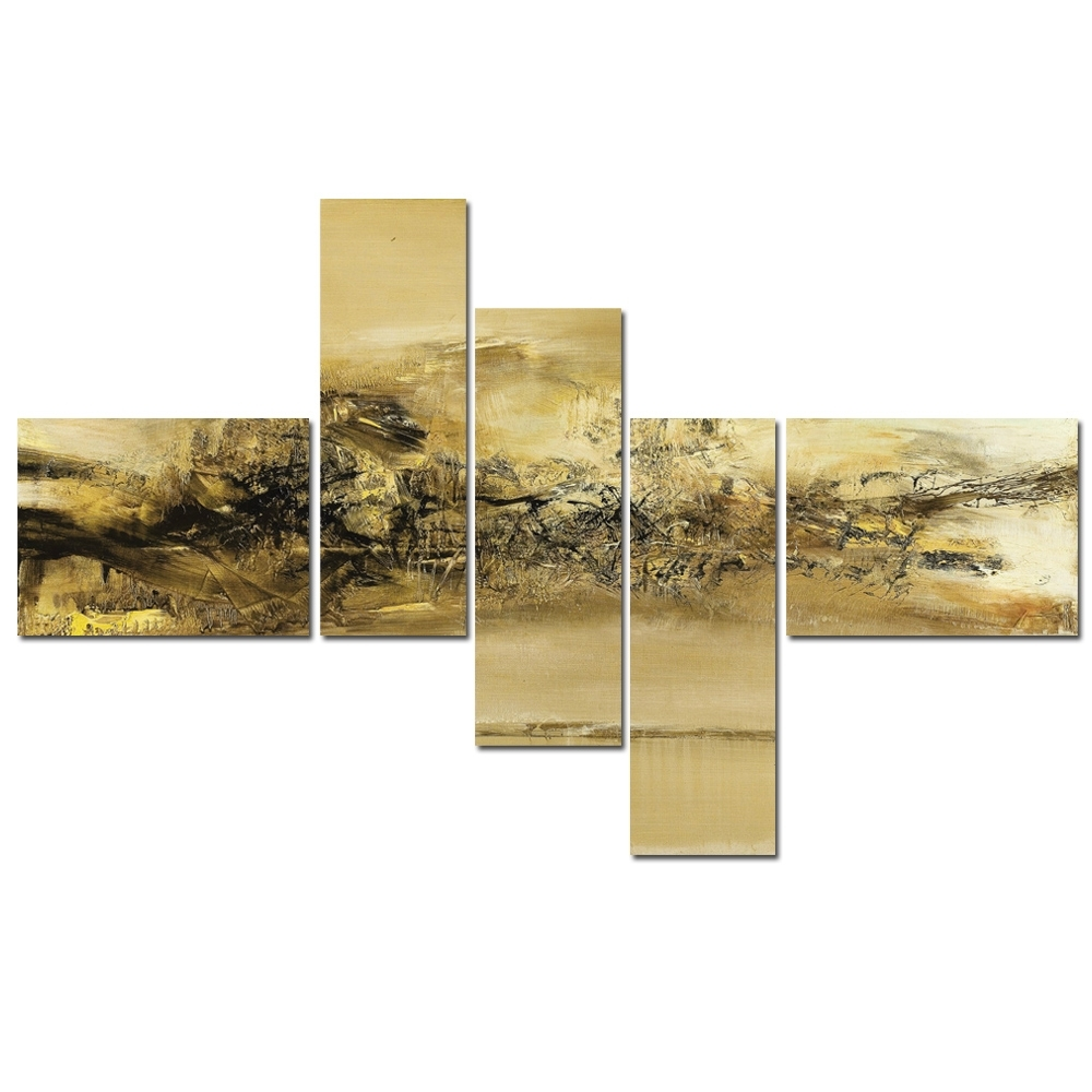 5 Panel Modern Canvas Wall Art Painting Gold Abstract Artwork Inside Latest Gold Canvas Wall Art (View 2 of 15)
