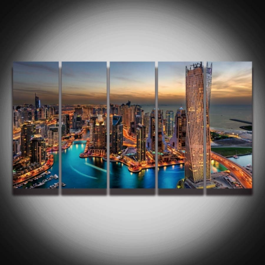 5 Panel Printed City Night Scenery Dubai Picture Painting On With Regard To Most Current Dubai Canvas Wall Art (View 5 of 15)