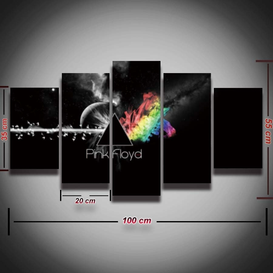 5 Panel Printed Pink Floyd Rock Music Canvas Painting For Wall Art Intended For Recent Music Canvas Wall Art (View 2 of 15)