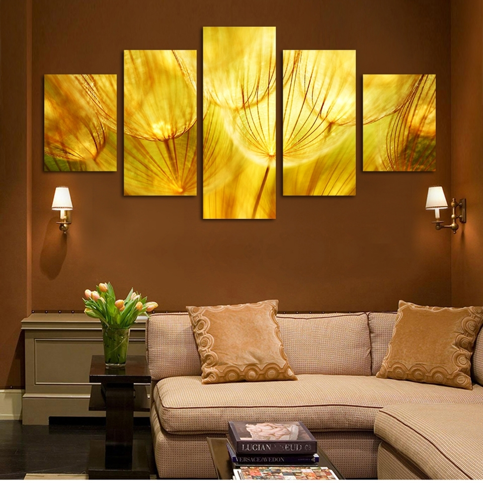 5 Panel Wall Art Gold Flower Oil Painting On Canvas Quartz Crystal Throughout Recent Gold Canvas Wall Art (View 5 of 15)