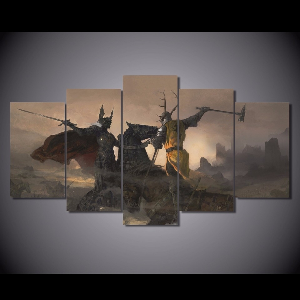 5 Panels Canvas Prints Game Of Thrones Wall Art Home Decor 5 Piece For Latest Gaming Canvas Wall Art (View 2 of 15)