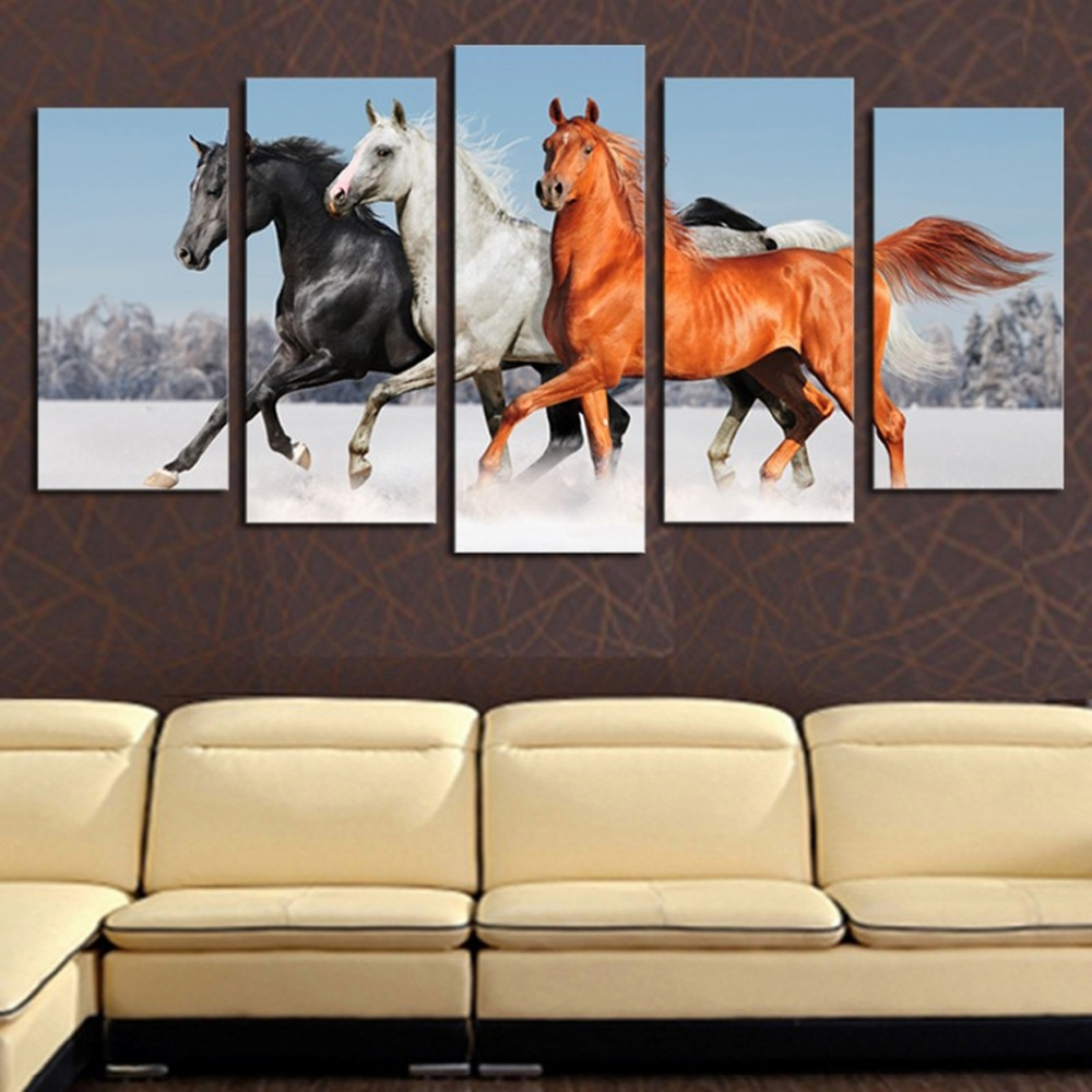 5 Panels Three Horses Canvas Prints For Living Room Wall Art Regarding Latest Horses Canvas Wall Art (View 2 of 15)