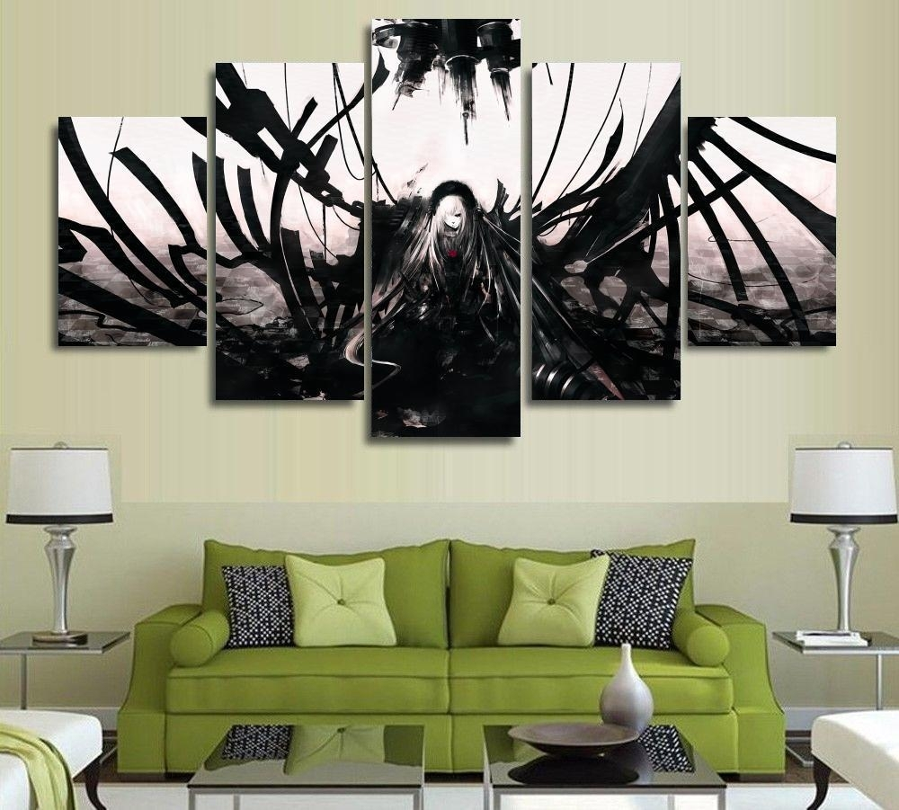 5 Panels Wall Art Anime Angel Black & White Dark 5 Pieces In 2018 Anime Canvas Wall Art (View 8 of 15)