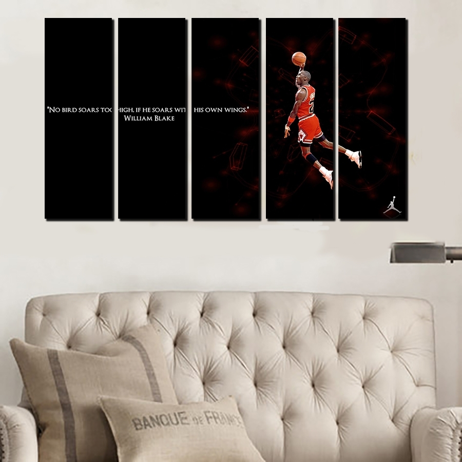 5 Pcs For Michael Jordan Large Seaview Canvas Print Painting For Pertaining To Most Popular Michael Jordan Canvas Wall Art (View 2 of 15)