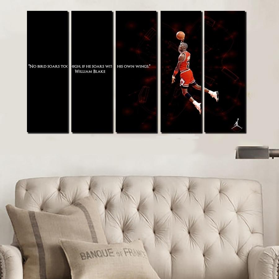 5 Pcs For Michael Jordan Large Seaview Canvas Print Painting For pertaining to Most Popular Michael Jordan Canvas Wall Art