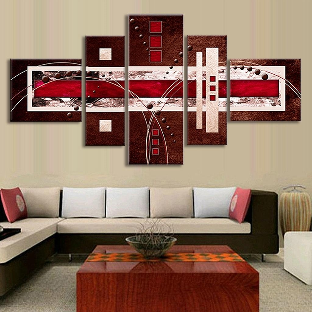 5 Pcs/set Combined Modern Abstract Oil Painting Brown Red Cream With Regard To Newest Canvas Wall Art In Red (View 4 of 15)