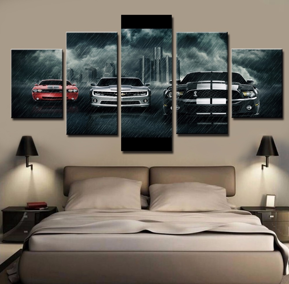5 Piece Canvas Art Large Ford Mustang Shelby Car Cuadros Intended For Recent Bmw Canvas Wall Art (View 3 of 15)