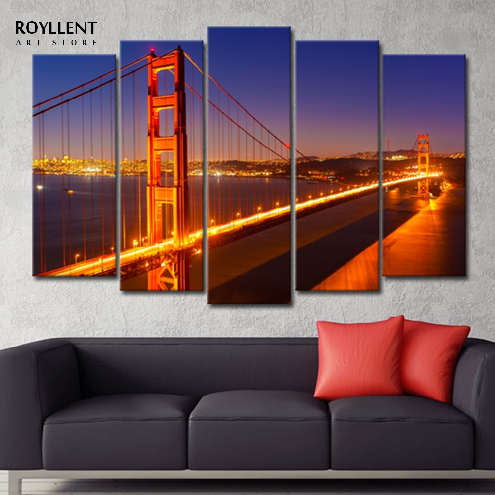 5 Piece Golden Gate Bridge Picture Painting Canvas Unframed Intended For Most Current Golden Gate Bridge Canvas Wall Art (View 2 of 15)