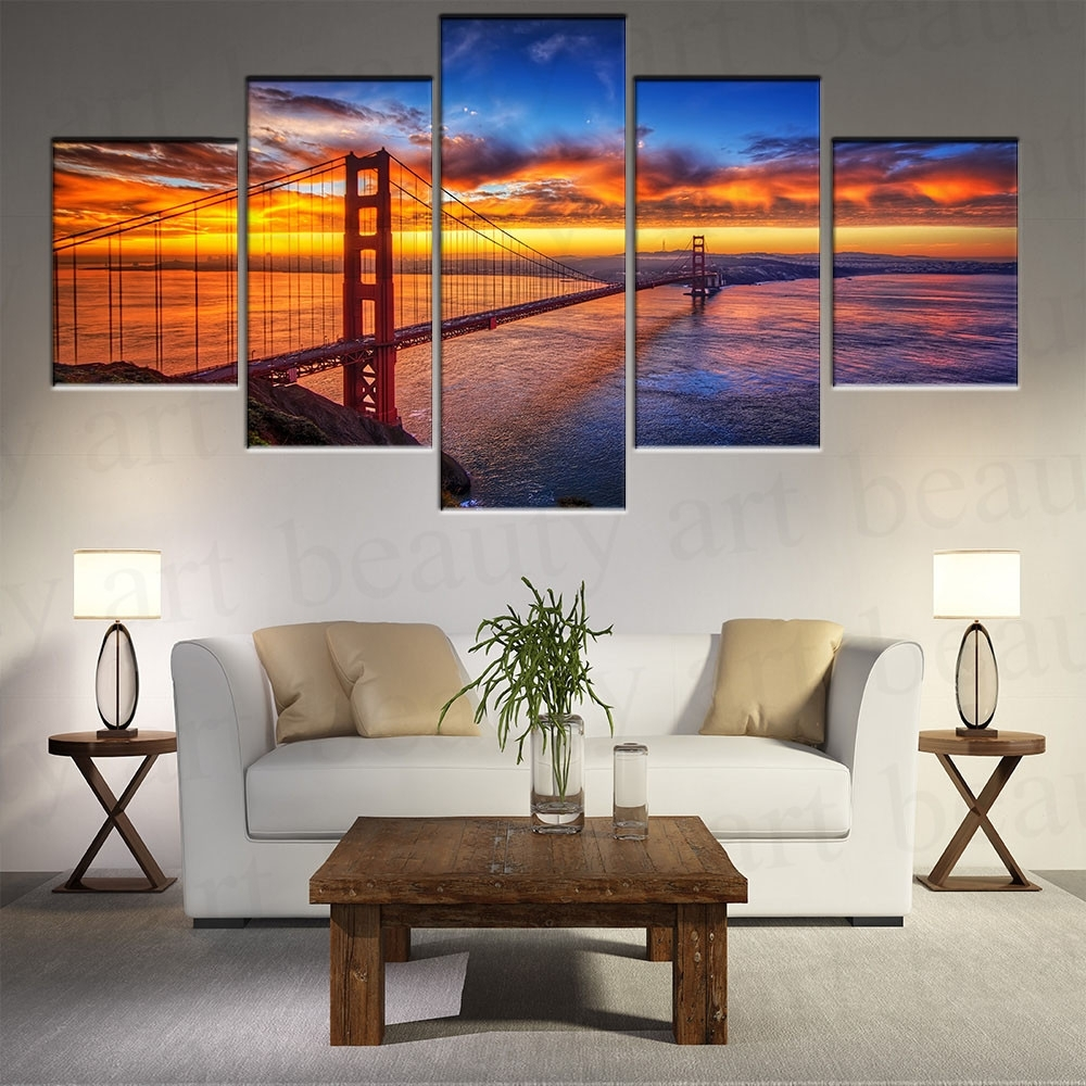 5 Piece Modern Canvas Wall Art Prints Painting California Sky With Most Popular Golden Gate Bridge Canvas Wall Art (Gallery 8 of 15)