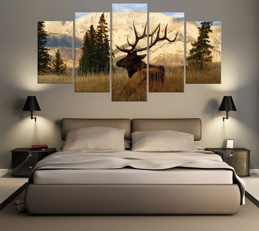 5 Piece Mountains Elk Hunting Canvas | Canvas Art Prints throughout Current Mountains Canvas Wall Art