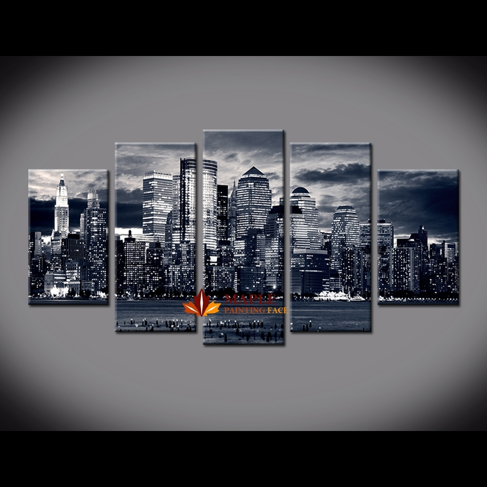 5 Piece Painting New York City Buildings On Canvas From Oil Throughout Latest Canvas Wall Art Of New York City (View 5 of 15)