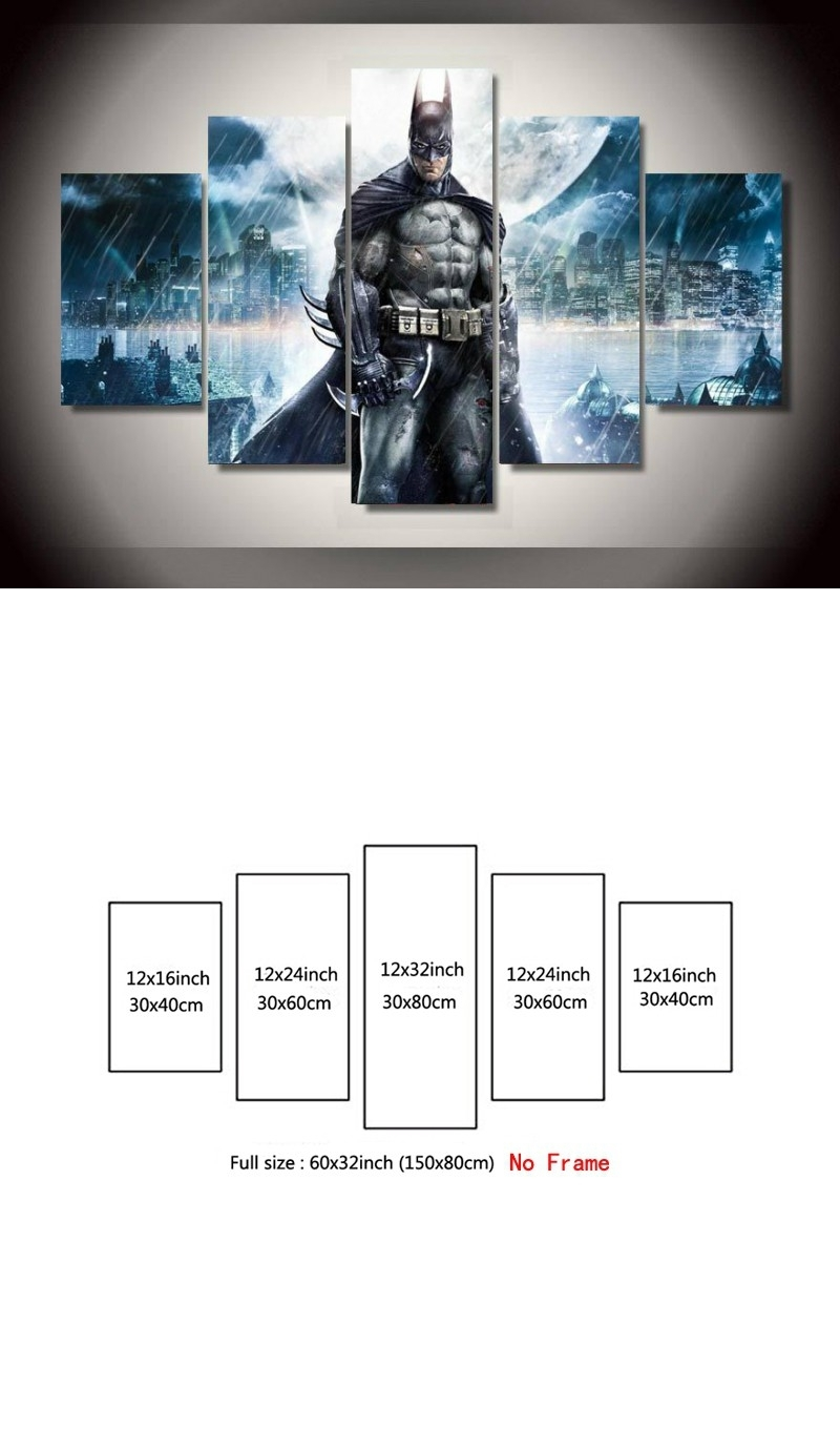 5 Pieces Canvas Painting Batman Movie Poster Hd Print Painting With Regard To Recent Movies Canvas Wall Art (View 2 of 15)