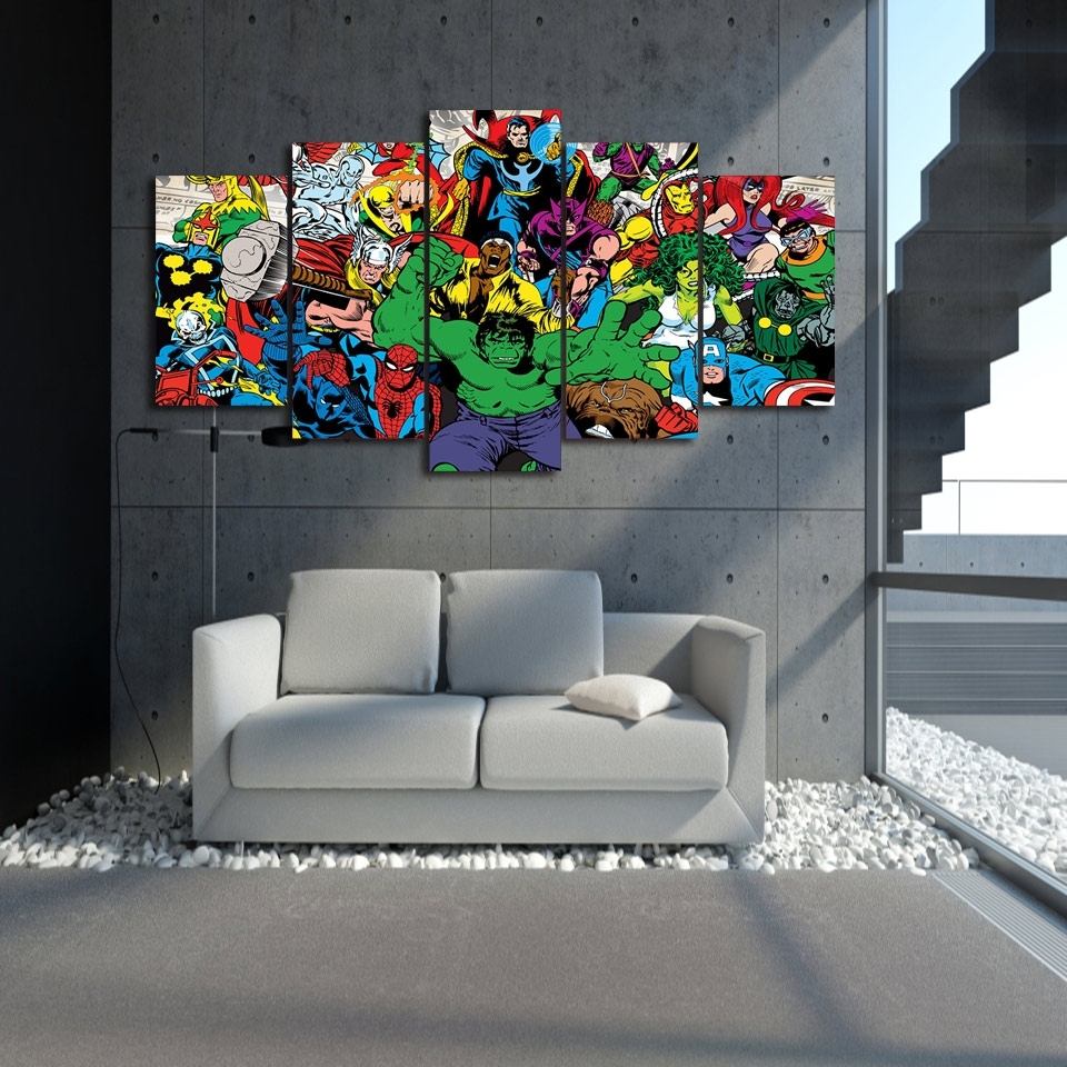 5 Pieces Canvas Prints Marvel Avengers Hulk Spider Man Painting In 2018 Marvel Canvas Wall Art (View 3 of 15)
