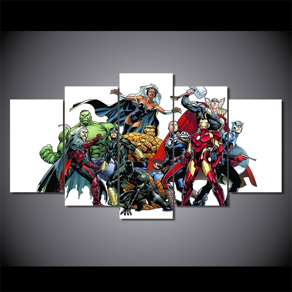 5 Pieces Canvas Prints Marvel Hero Comics Painting Wall Art Panels In Best And Newest Marvel Canvas Wall Art (View 10 of 15)