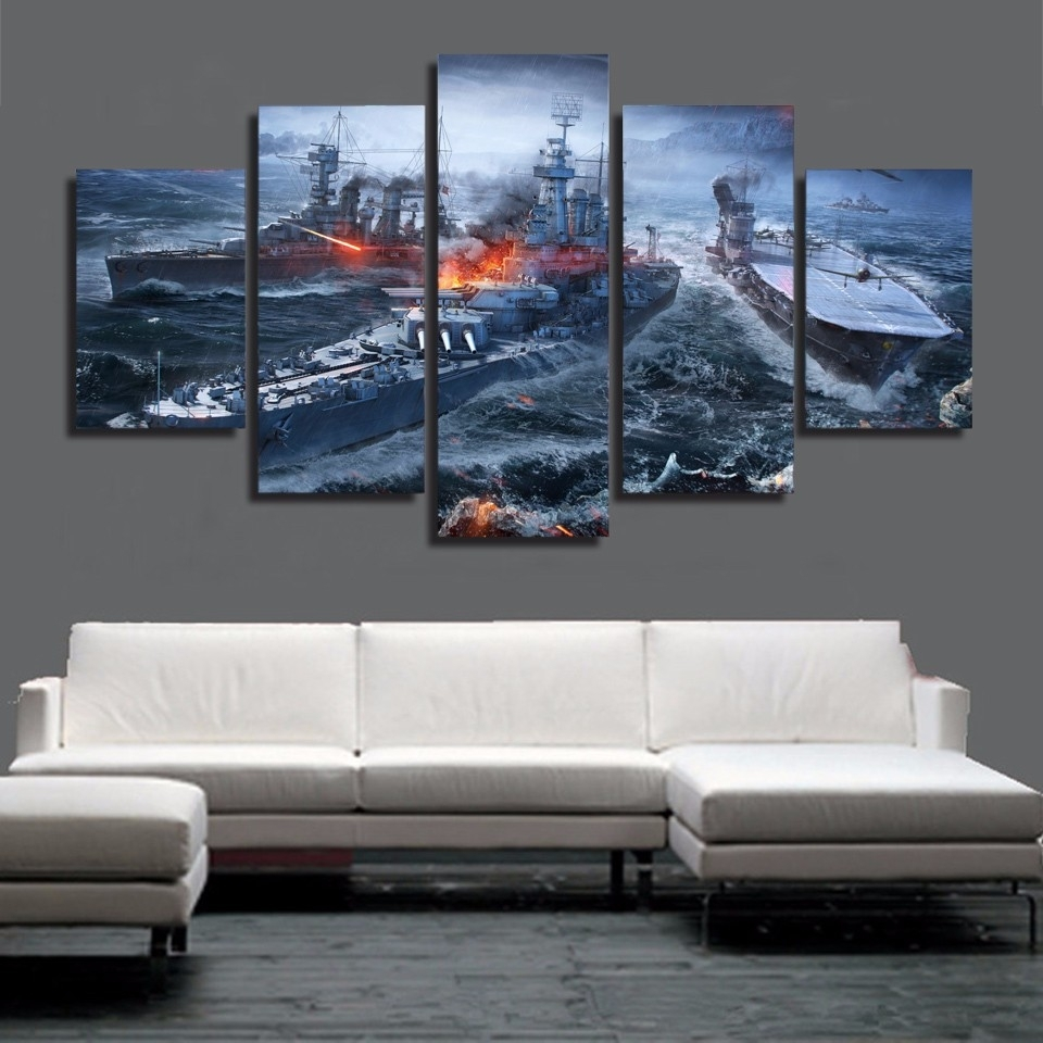 5 Pieces Canvas Prints World Of Warships War Gaming Painting Wall in Most Current Gaming Canvas Wall Art