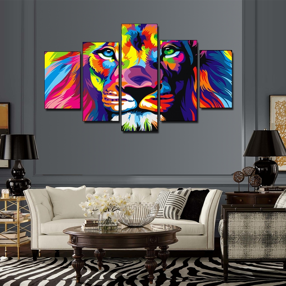 5 Pieces Colorful Lion King Oil Painting Animal Art Pictures Pertaining To 2017 Lion King Canvas Wall Art (View 12 of 15)