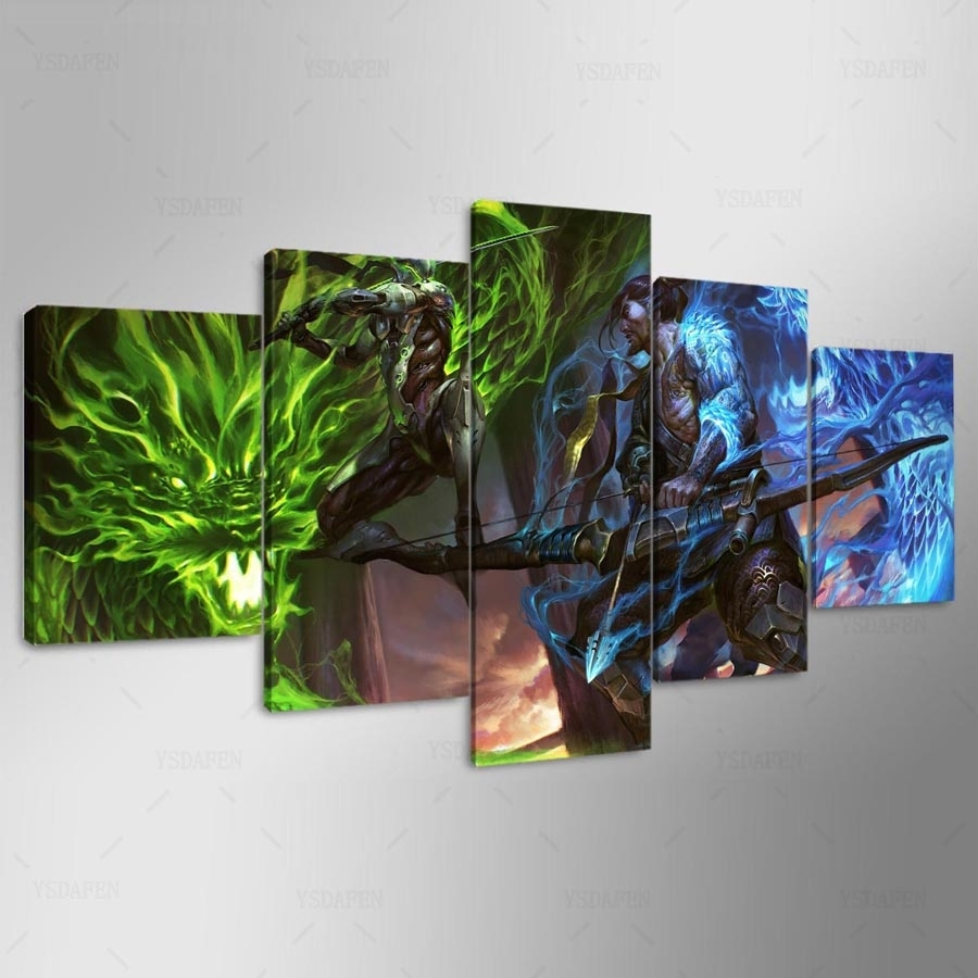 5 Pieces Overwatch Hanzo And Genji Canvas – Awesome Haven In Most Current Gaming Canvas Wall Art (View 4 of 15)