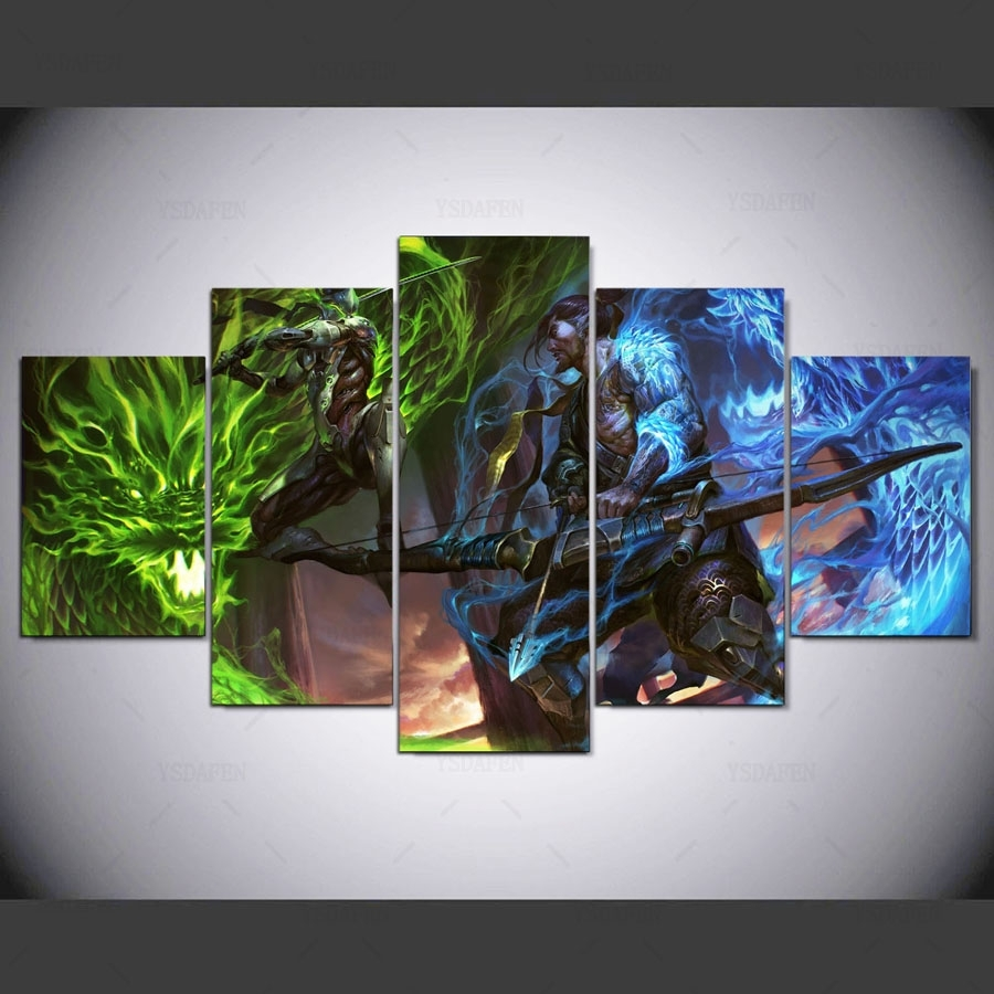 5 Pieces Overwatch Hanzo And Genji Canvas - Awesome Haven regarding 2018 Gaming Canvas Wall Art