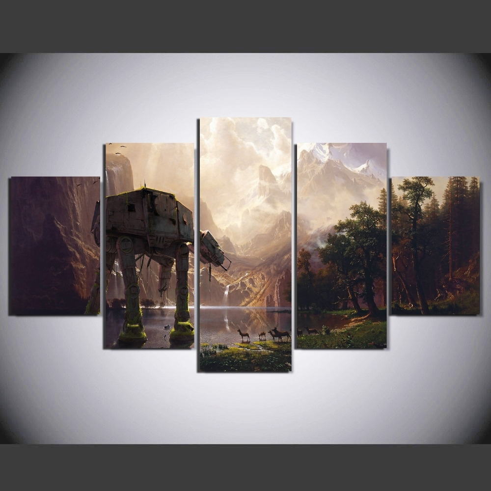 5 Pieces Star Wars Robot Dog At At Painting Canvas Wall Art Intended For Newest Robot Canvas Wall Art (View 2 of 15)