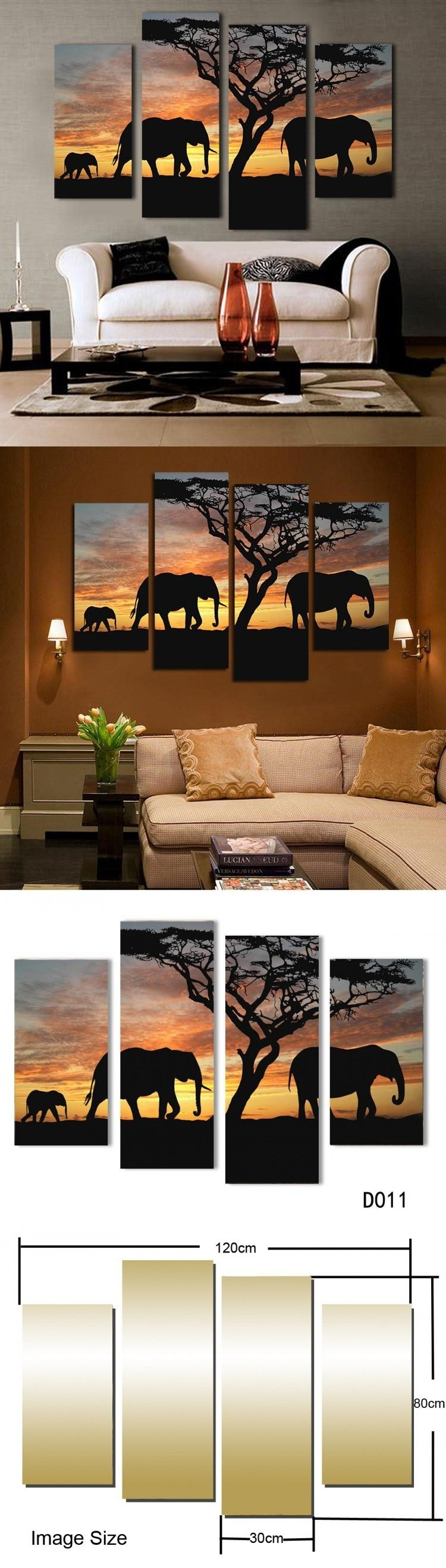 5 Ppcs Sunset Elephant Painting Canvas Wall Art Picture Home In Current Safari Canvas Wall Art (View 6 of 15)