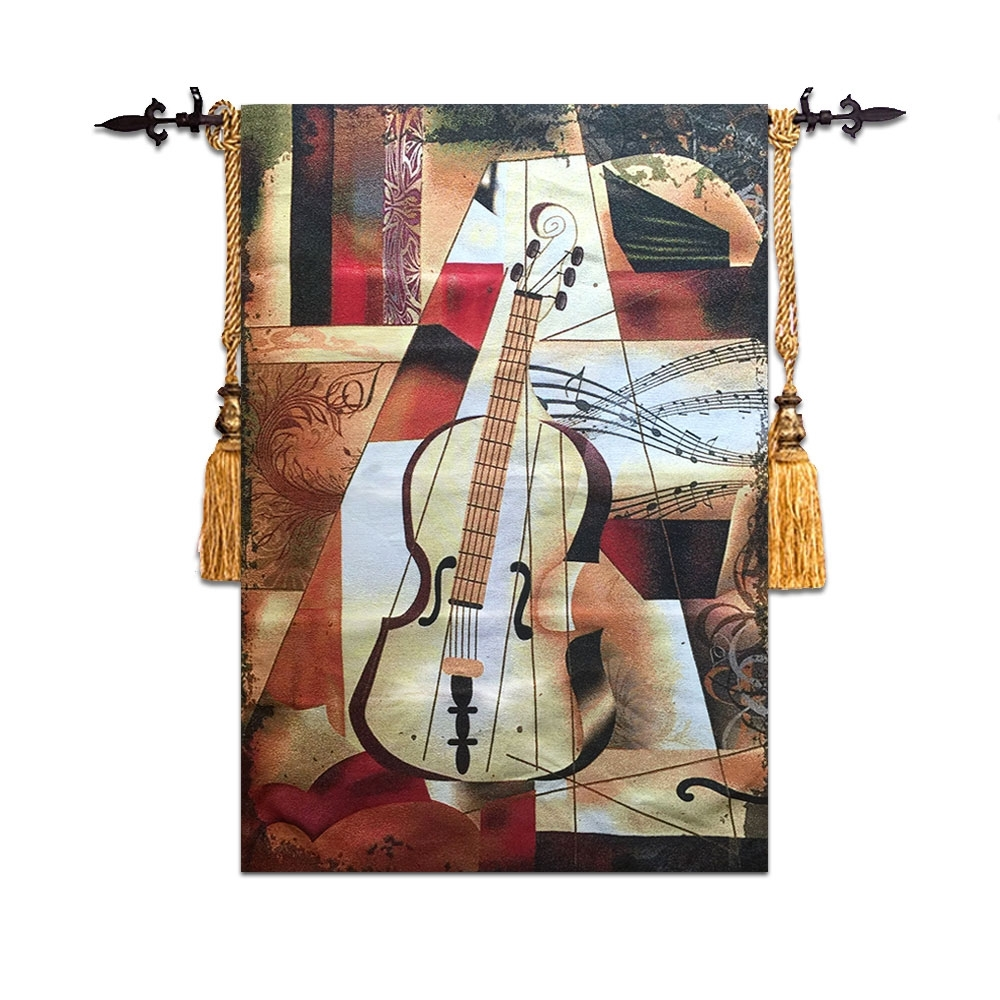 58*90Cm High Quality Violin Wall Tapestry Wall Hanging Moroccan With Latest Moroccan Fabric Wall Art (View 3 of 15)