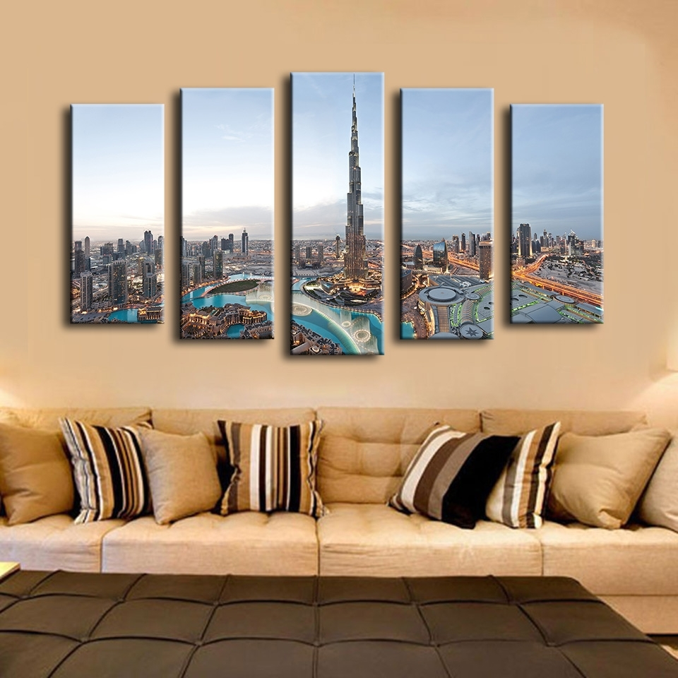 5Pcs Khalifa Tower Dubai Best Hotels Wall Painting For Home Decor Regarding Most Recently Released Dubai Canvas Wall Art (View 6 of 15)