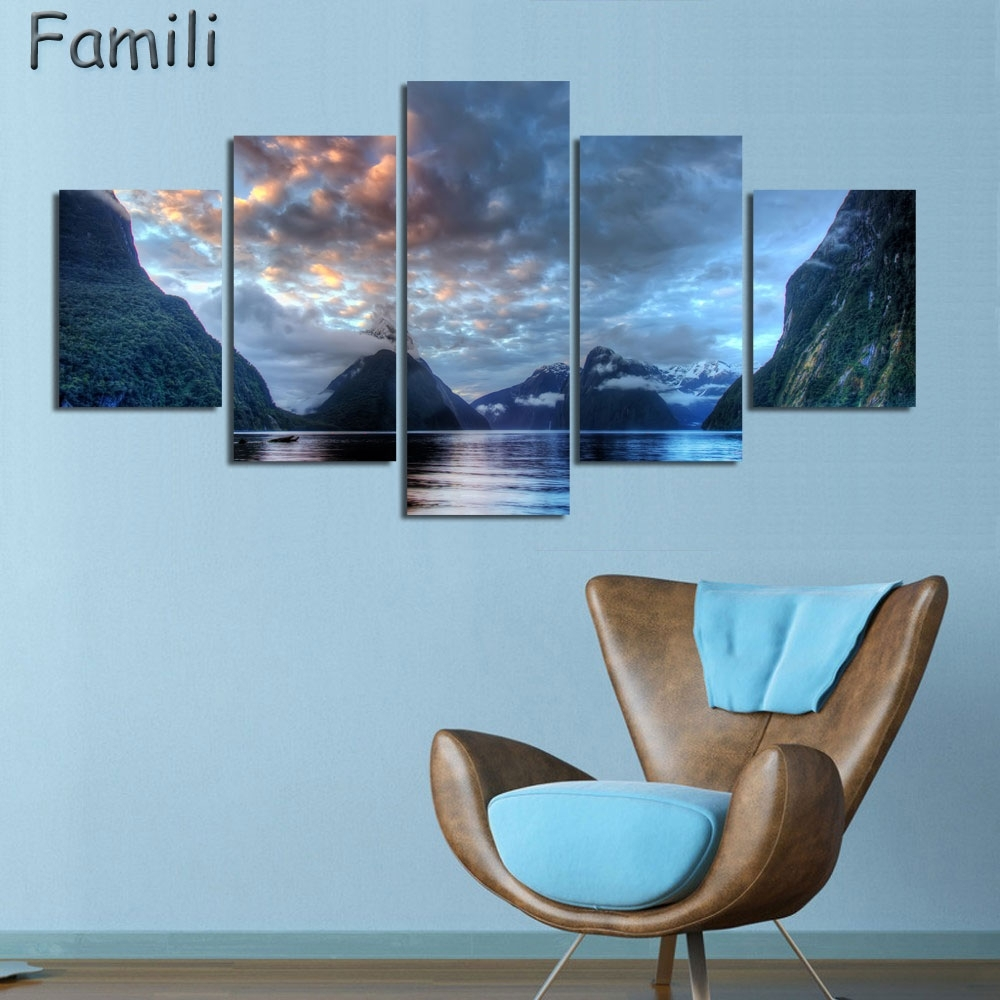 5Pcs/set Wall Art Painting New Zealand Blue Water Lake Mountain in Recent New Zealand Canvas Wall Art