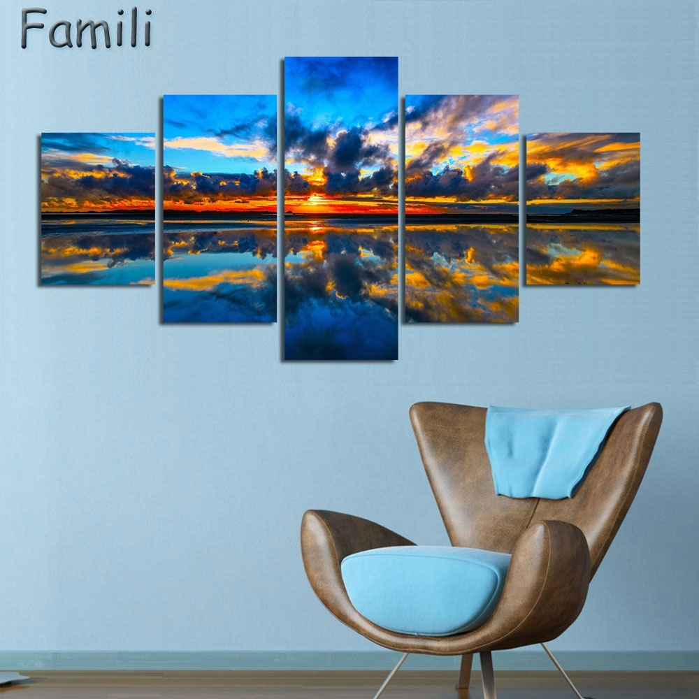 5Pcs/set Wall Art Painting New Zealand Blue Water Lake Mountain Pertaining To 2018 New Zealand Canvas Wall Art (View 5 of 15)