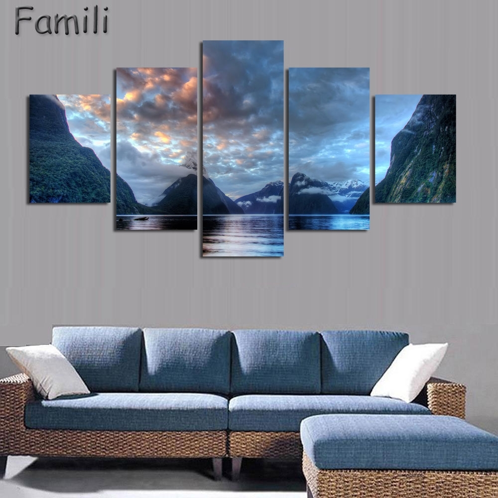 5Pcs/set Wall Art Painting New Zealand Blue Water Lake Mountain With Most Current New Zealand Canvas Wall Art (View 6 of 15)
